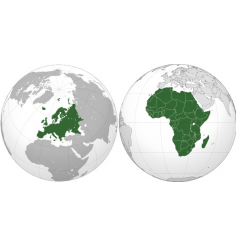 Carte Europe et Afrique (Jeppesen + terrestre) + villes Europe