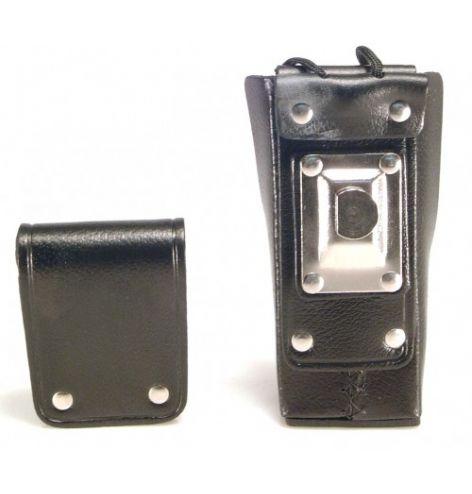 Housse cuir avec clip pivot métal et fenêtre plastique