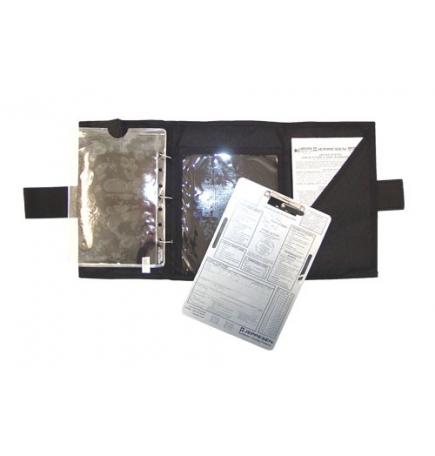 Pochette de vol 3 volets noire + anneaux Jeppesen