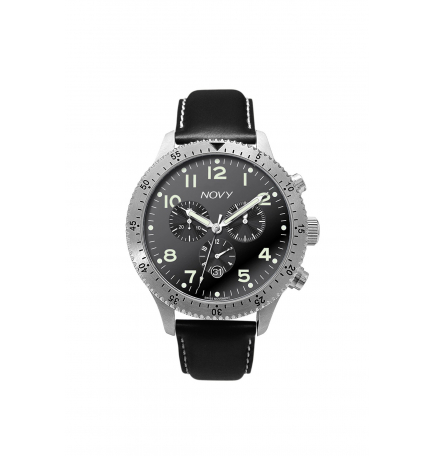 Montre NOVY Chrono Black CUIR
