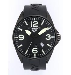 Montre pilote fond cadran noir bracelet plastique