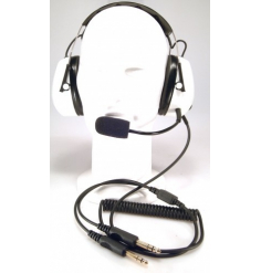 Casque aviation blanc avec microphone