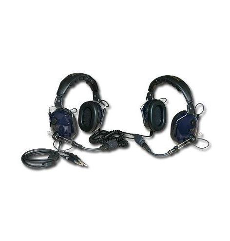 2 casques reliés par câble hélicoïdal amovible, avec intercom à déclenchement vocal incorporé.