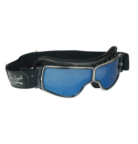 Lunettes Aviator Goggle Cuir noir