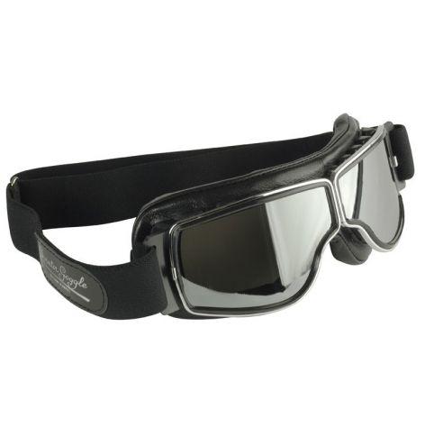 Lunettes Aviator Goggle Cuir noir avec passages de lunettes de vue