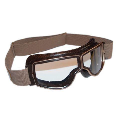 Lunettes Aviator Goggle Cuir marron vieilli avec passages de lunettes de vue