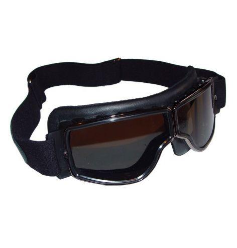 Lunettes Aviator Goggle Cuir noir (modèle plus étroit)